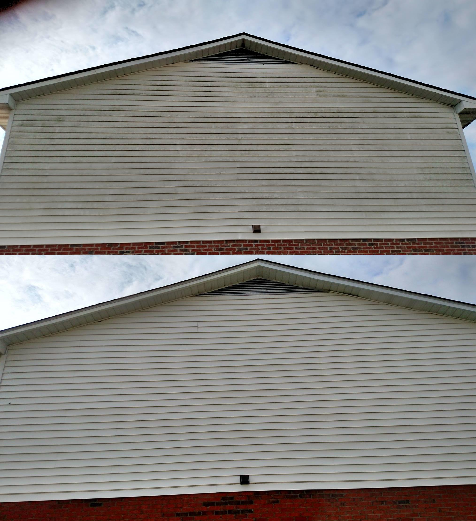 We use only low pressure soft washing to safely clean homes throughout Southeastern North Carolina