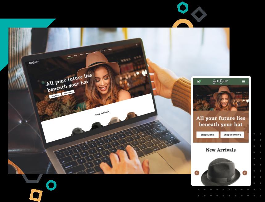 Hat Shop website example in desktop & mobile view