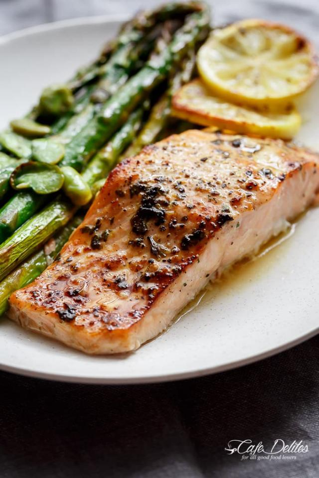 One Pan Lemon Garlic Baked Salmon + Asparagus