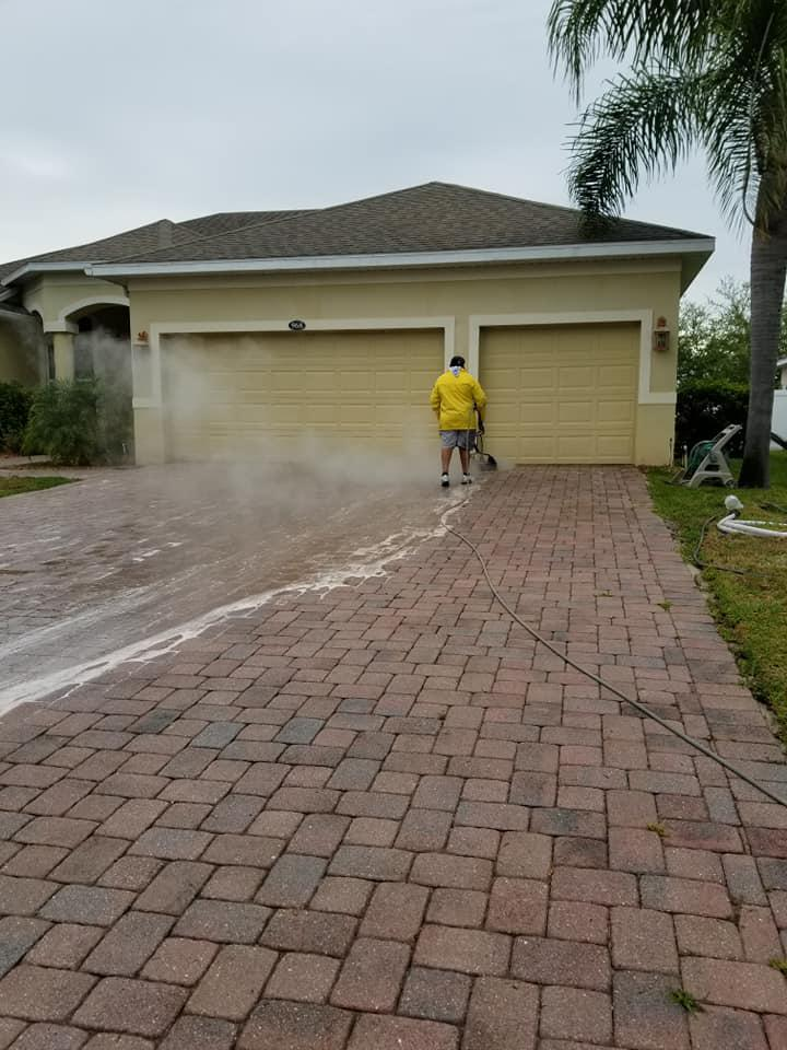 We can safely clean and seal brick paverswith power washing and high-quality sealing products